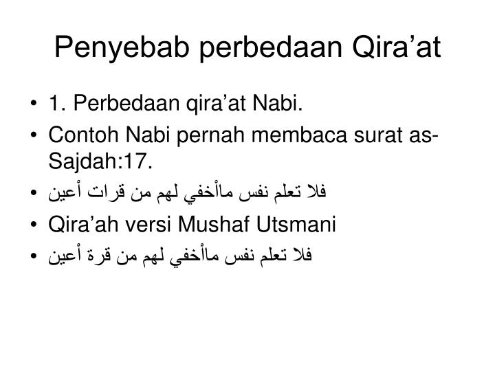 Penyebab perbedaan Qira'at