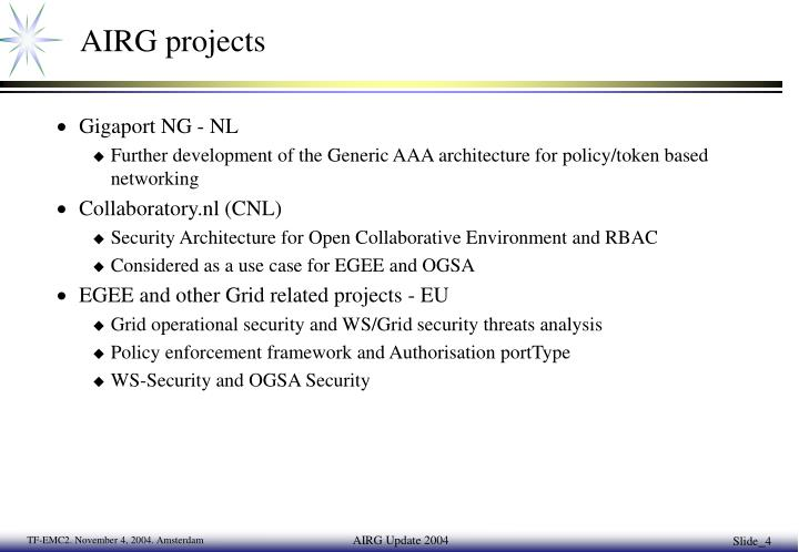 AIRG projects