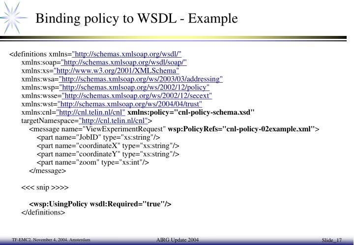 Binding policy to WSDL - Example
