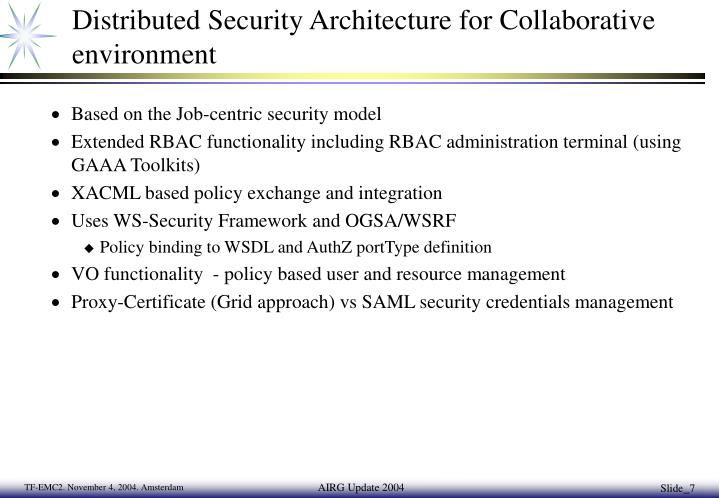 Distributed Security Architecture for Collaborative environment