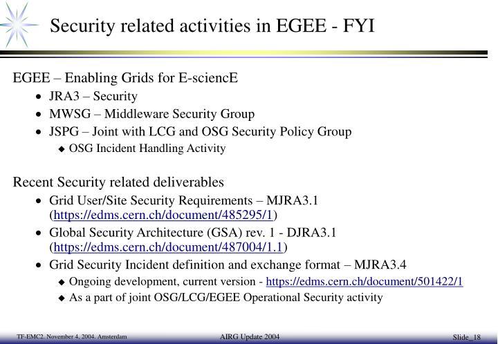 Security related activities in EGEE - FYI