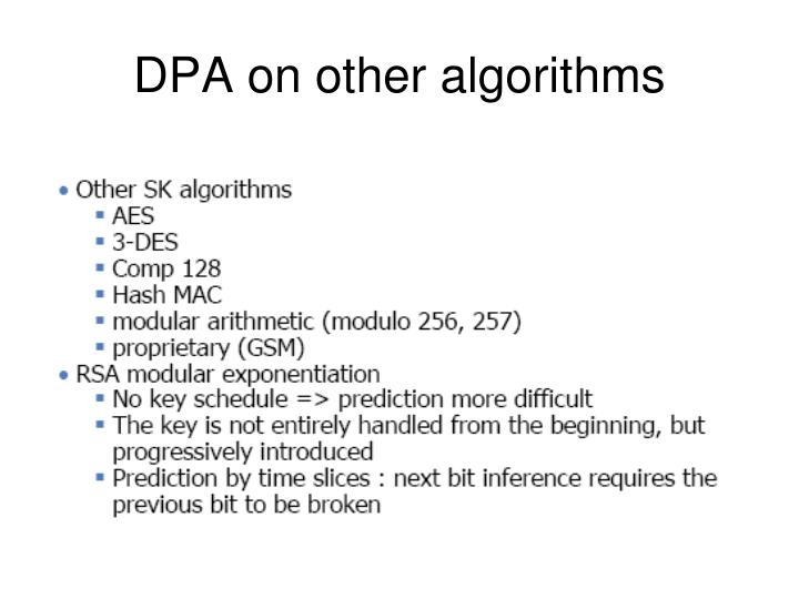 DPA on other algorithms