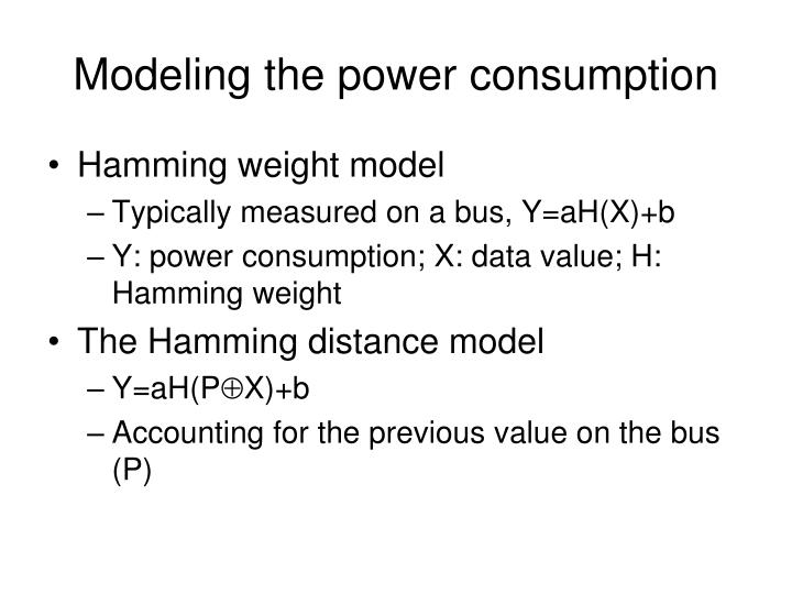 Modeling the power consumption