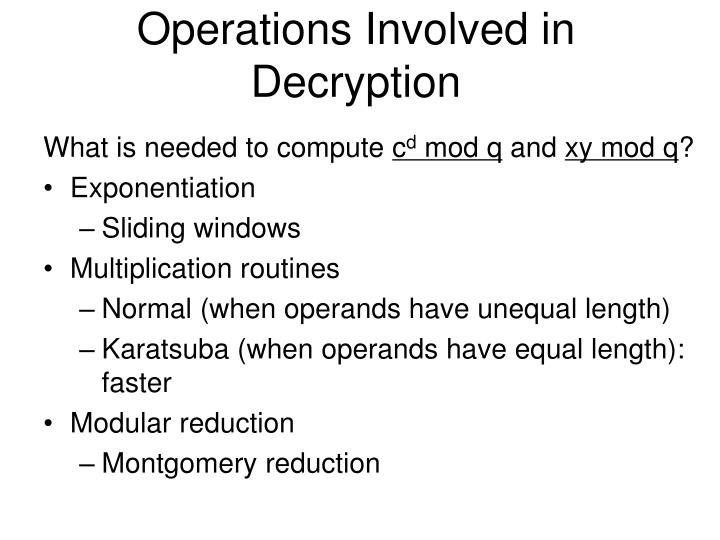 Operations Involved in Decryption