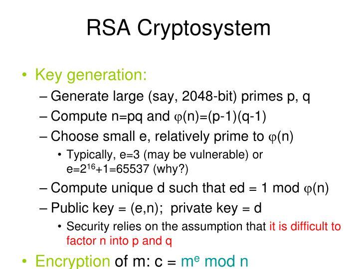 RSA Cryptosystem