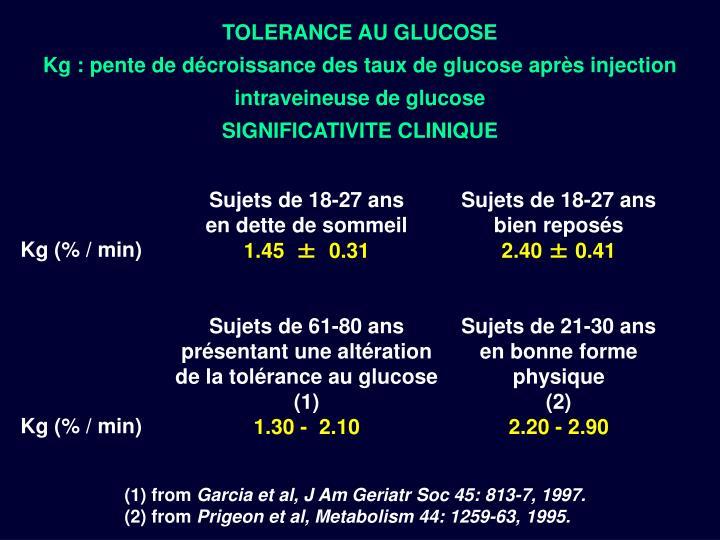 TOLERANCE AU GLUCOSE