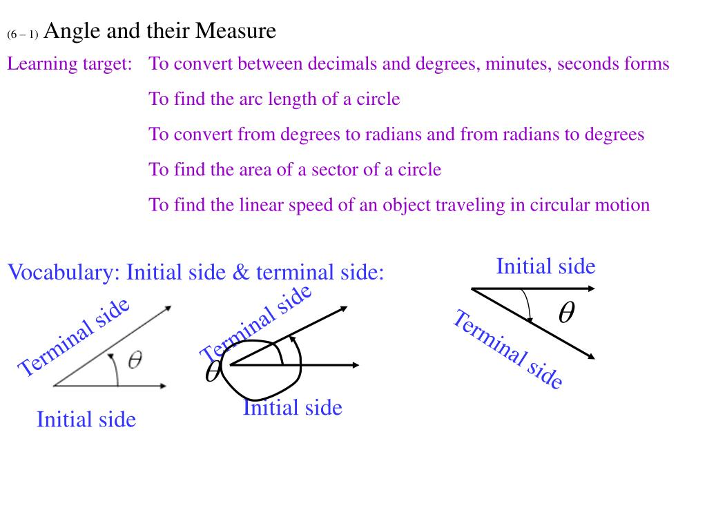 PPT - (6 – 1) Angle and their Measure PowerPoint