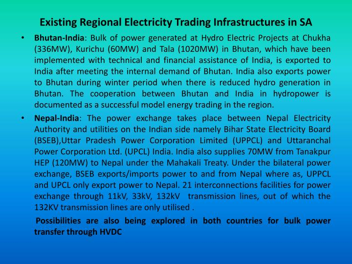 Existing Regional Electricity Trading Infrastructures in SA