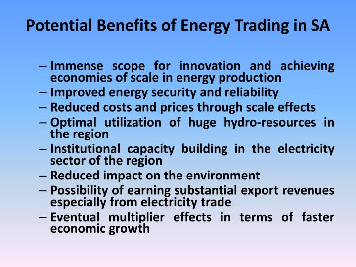 Potential Benefits of Energy Trading in SA