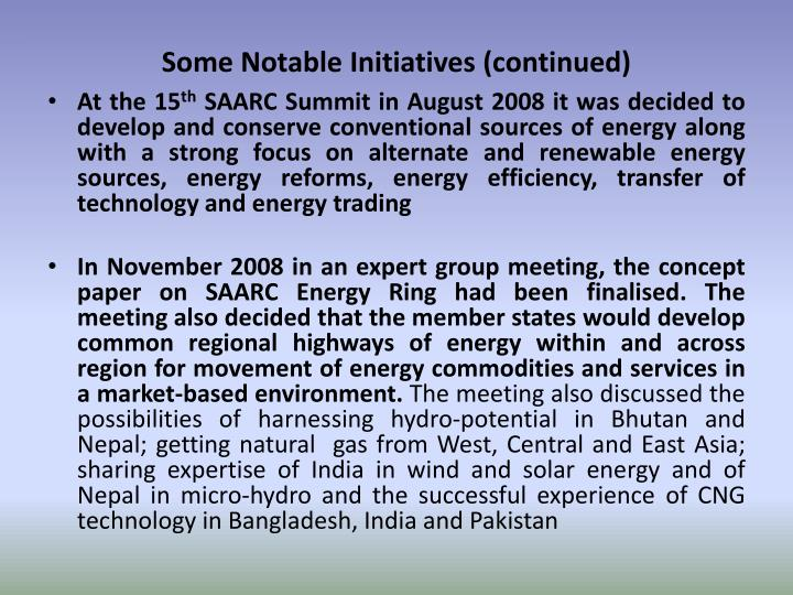 Some Notable Initiatives (continued)