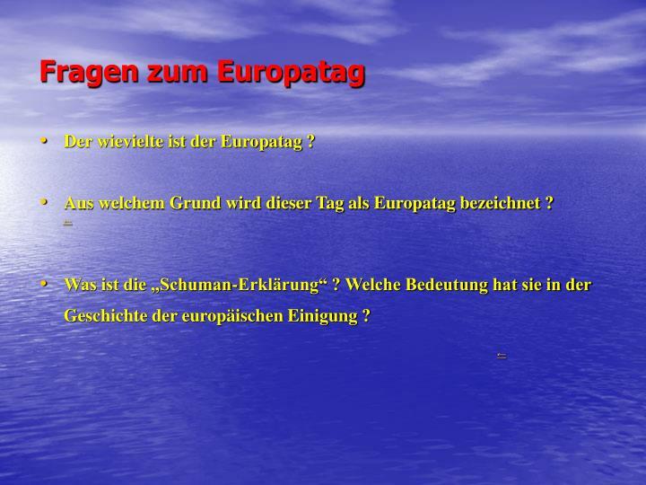 Fragen zum Europatag