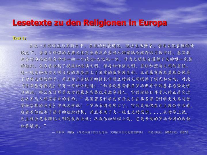 Lesetexte zu den Religionen in Europa