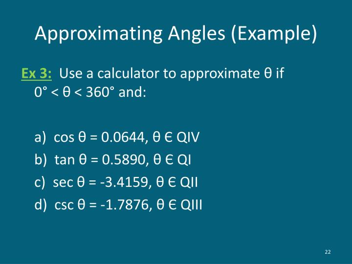 Approximating Angles (Example)