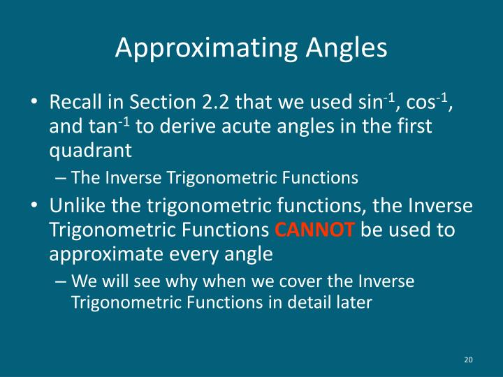 Approximating Angles