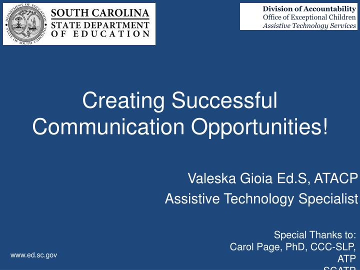 creating successful communication opportunities n.