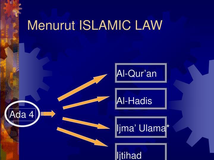 Menurut ISLAMIC LAW