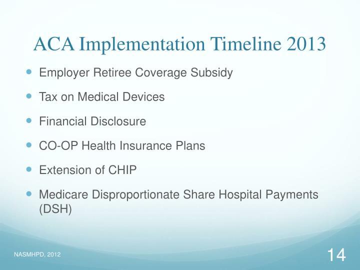 ACA Implementation Timeline 2013