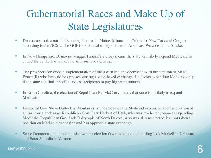 Gubernatorial Races and Make Up of State Legislatures