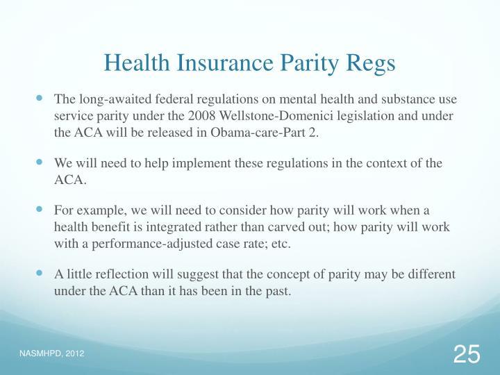 Health Insurance Parity Regs