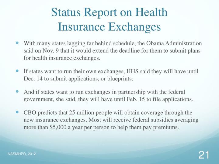 Status Report on Health