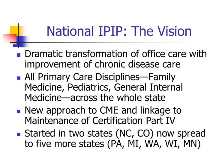 National IPIP: The Vision