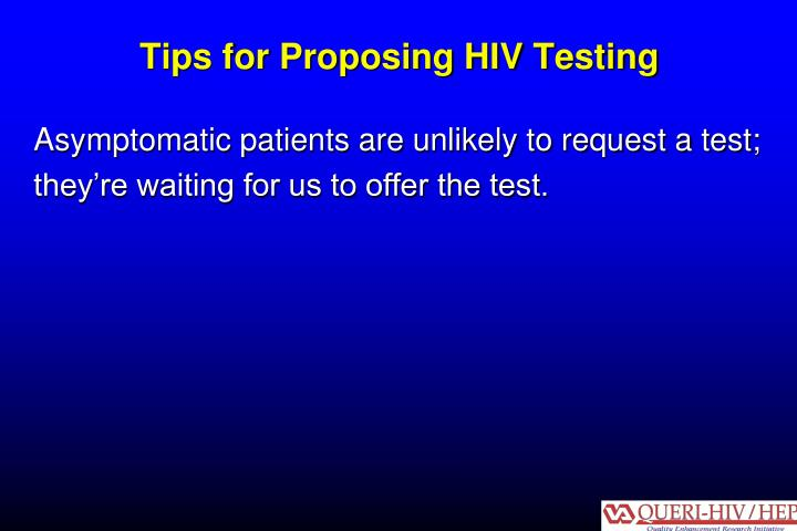 Tips for Proposing HIV Testing