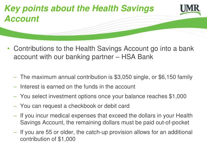 Key points about the Health Savings Account