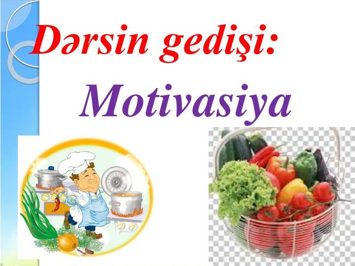 Dərsin gedişi: