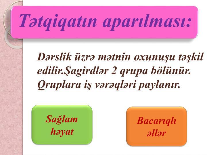 Tətqiqatın aparılması: