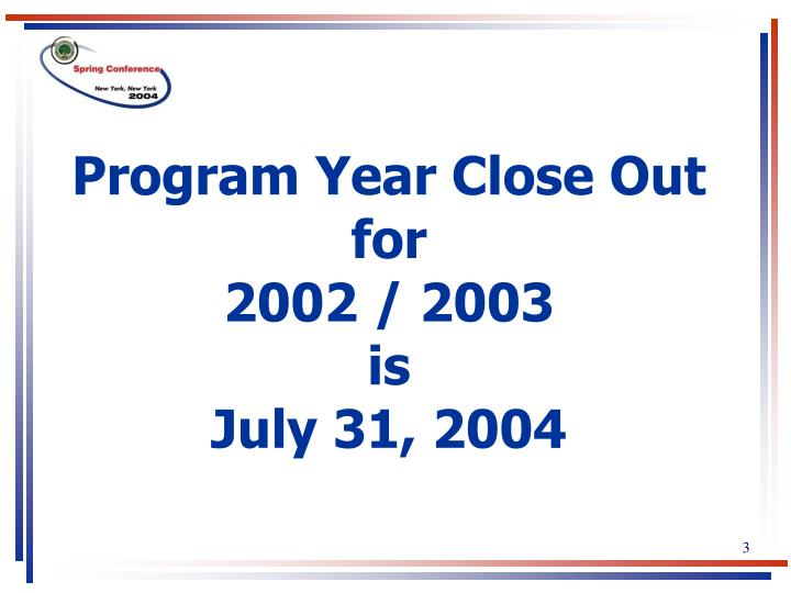 Program Year Close Out                                    for