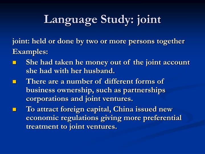 Language Study: joint