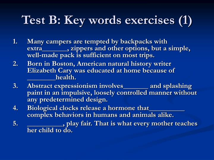 Test B: Key words exercises (1)