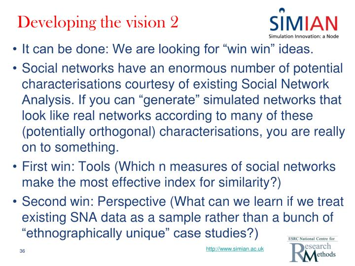 Developing the vision 2