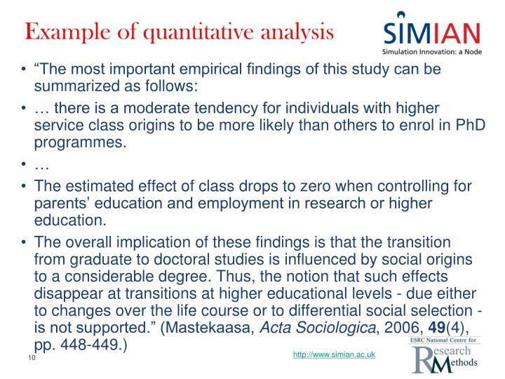 Example of quantitative analysis