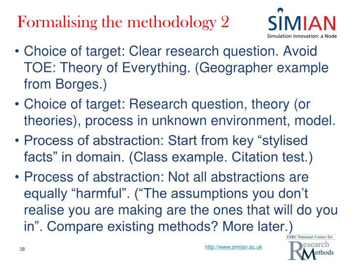 Formalising the methodology 2