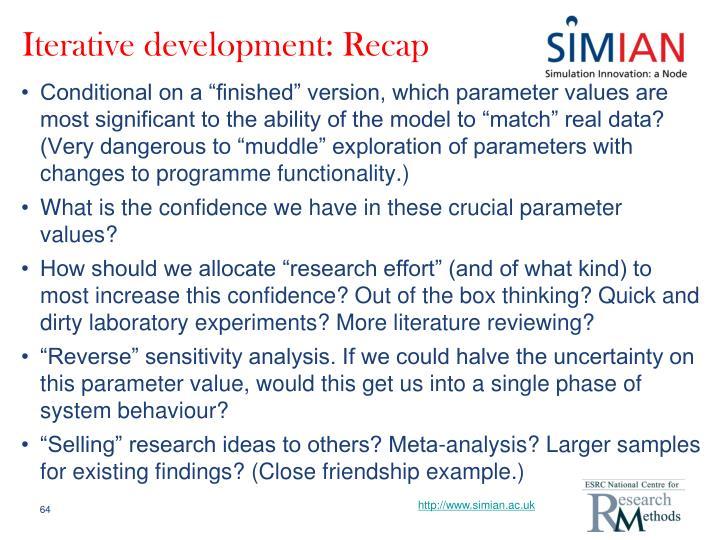 Iterative development: Recap