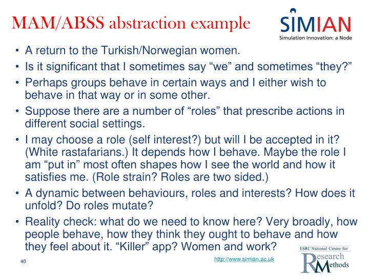 MAM/ABSS abstraction example
