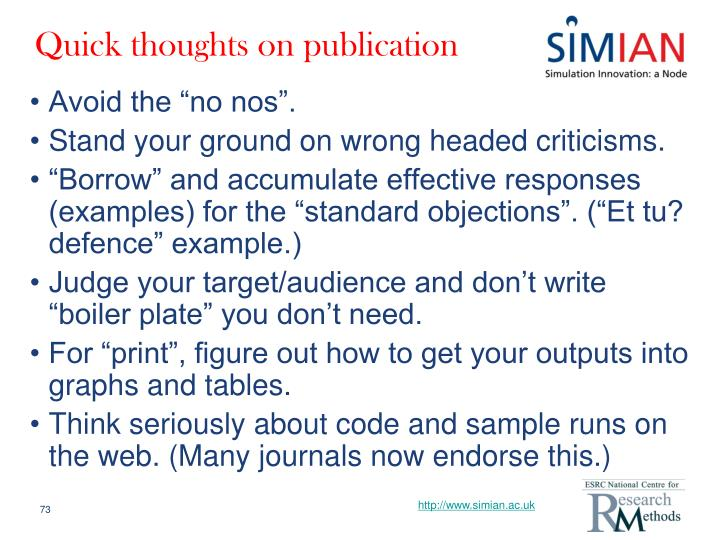 Quick thoughts on publication