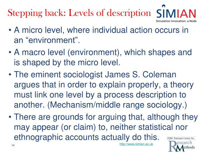 Stepping back: Levels of description