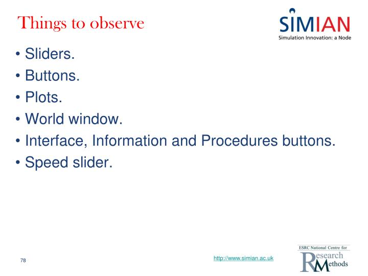 Things to observe