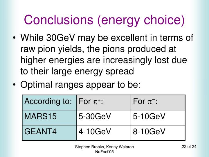 Conclusions (energy choice)