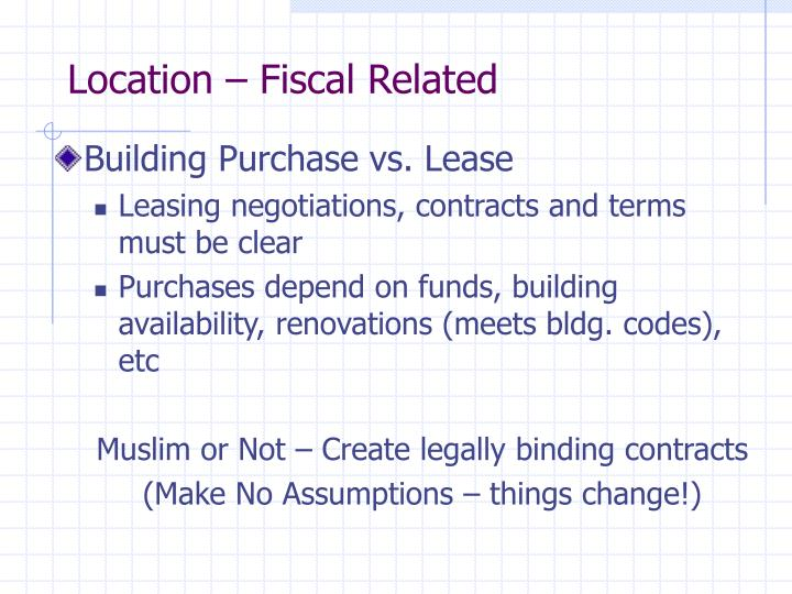 Location – Fiscal Related