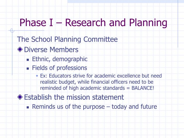 Phase i research and planning