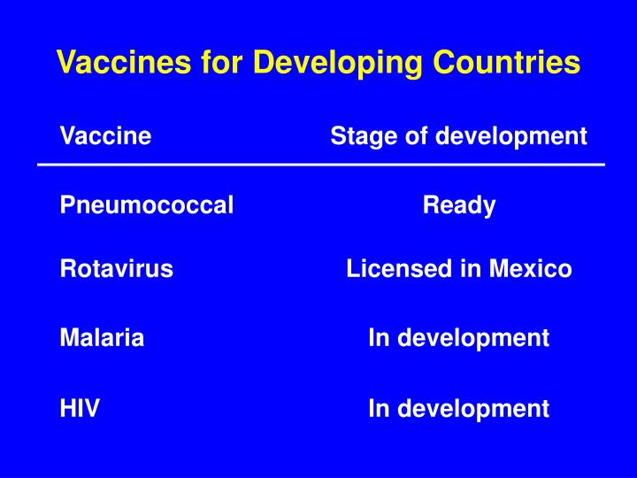 Vaccines for Developing Countries