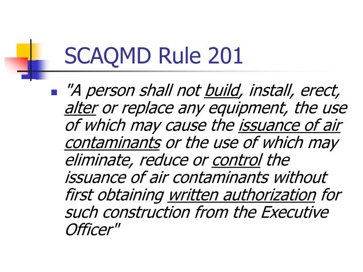 SCAQMD Rule 201
