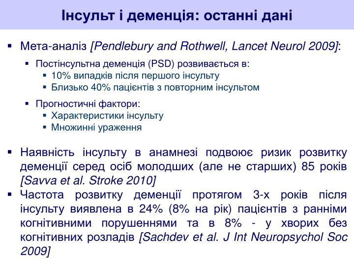 Інсульт і деменція