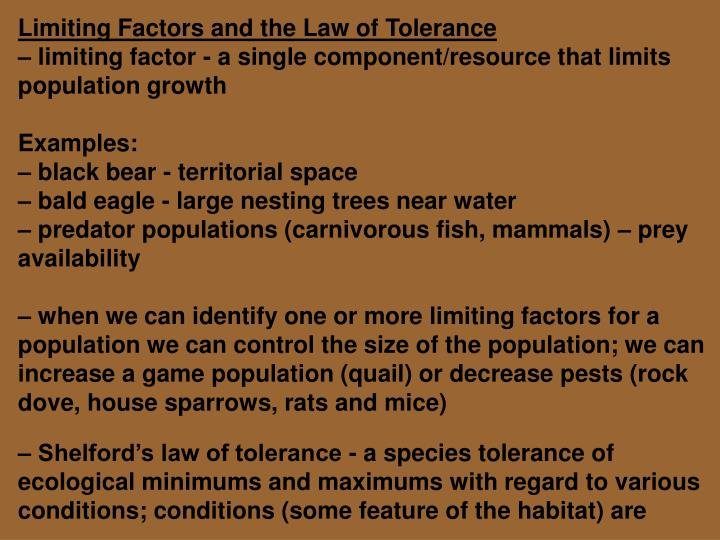 Ppt Limiting Factors And The Law Of Tolerance Powerpoint