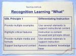 recognition learning what