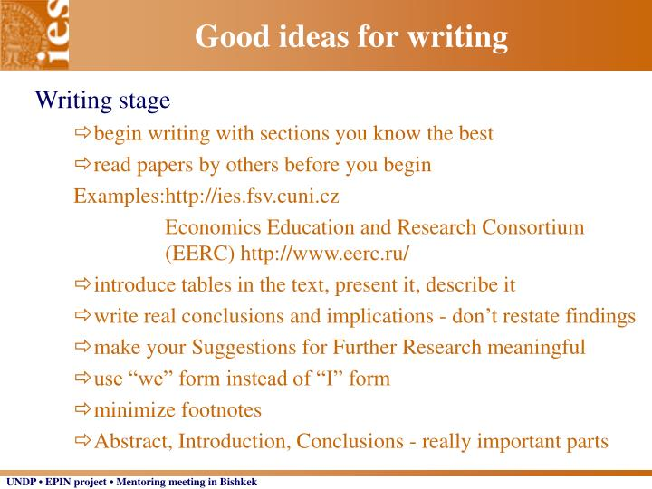 Good ideas for writing