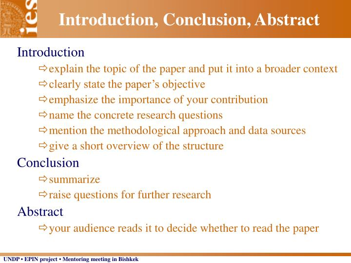 Introduction, Conclusion, Abstract